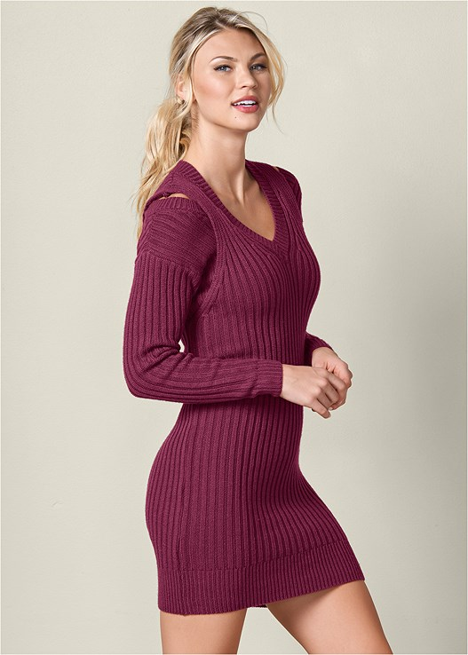 V NECK SWEATER DRESS,WRAP STITCH DETAIL BOOTIES