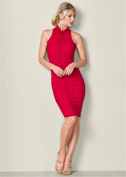 f4732a6ca40 RUCHED BODYCON DRESS in Red