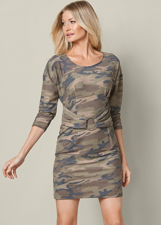 CAMO BELTED LOUNGE DRESS,WRAP STITCH DETAIL BOOTIES