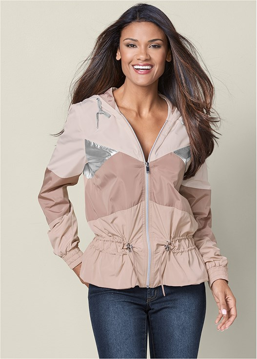 search for authentic great discount for how to purchase METALLIC DETAIL RAIN JACKET