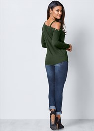 Back View Grommet Detail Sweatshirt