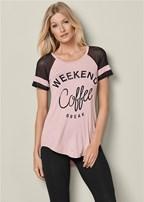 weekend coffee mesh tee