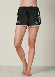 Front view Embroidered Sleep Shorts