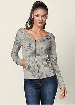 zip up hoodie lounge jacket