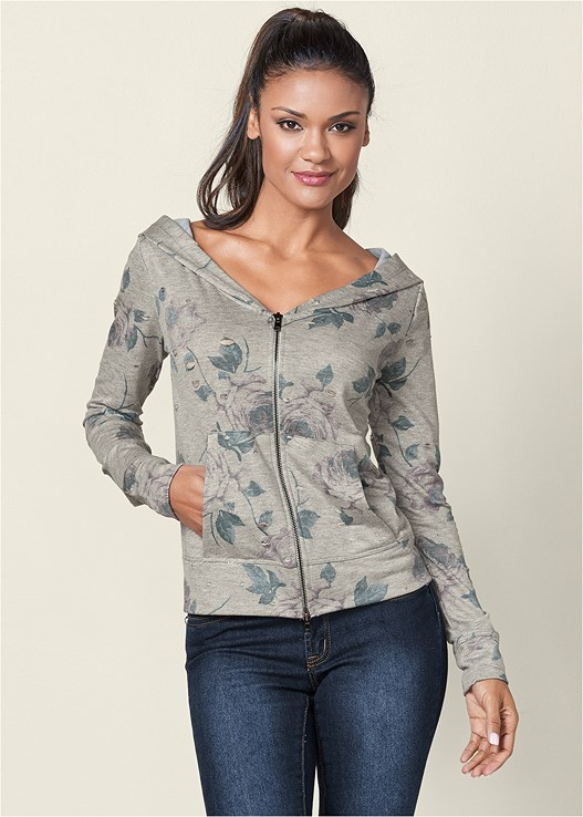 ZIP UP HOODIE LOUNGE JACKET,COLOR SKINNY JEANS,WRAP STITCH DETAIL BOOTIE