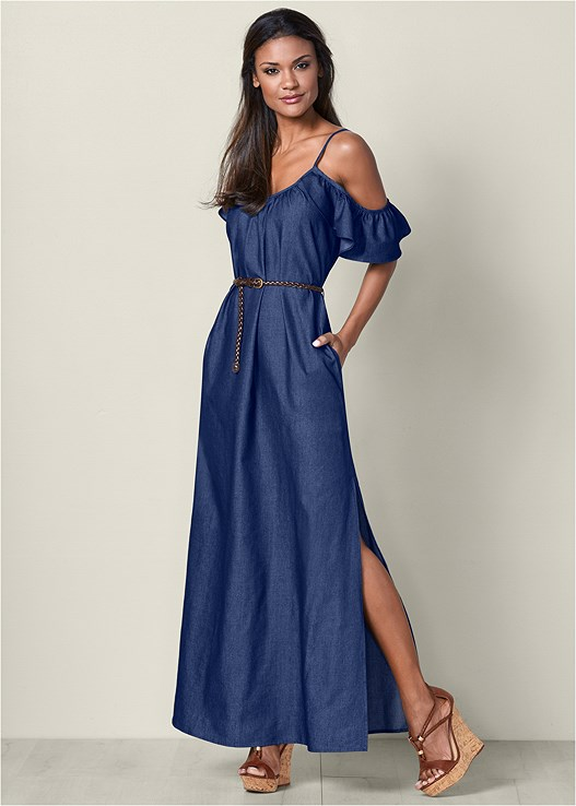 CHAMBRAY MAXI DRESS,BRAIDED DETAIL WEDGE