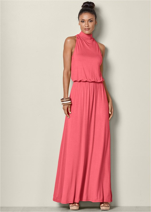 MOCK NECK MAXI DRESS