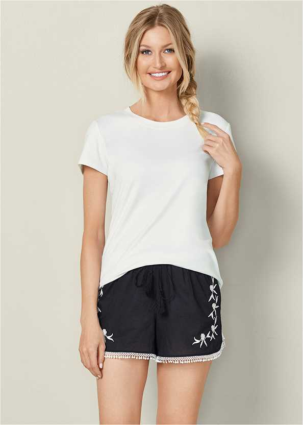 Embroidered Sleep Shorts