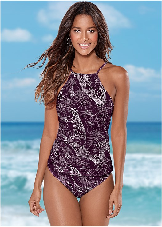 RUCHED SIDE HALTER TANKINI,HIGH WAIST MODERATE BOTTOM,SCOOP FRONT BIKINI BOTTOM,SKIRTED SWIM BIKINI BOTTOM,ALLURING HIGH WAIST BOTTOM