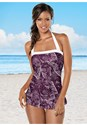 Front View Ruched Halter One-Piece