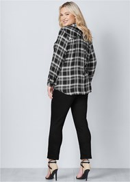 Back View Plaid Lace Up Top