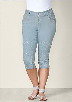 plus size embellished jean capris