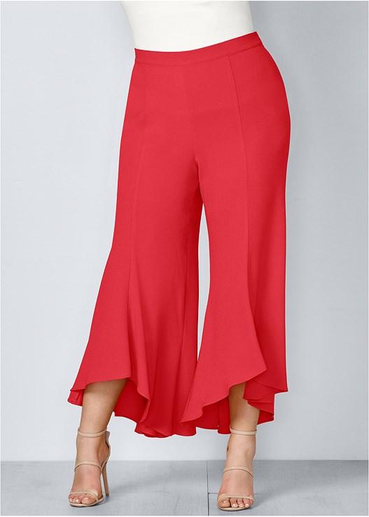 Plus Size RUFFLE HEM PANTS in Red | VENUS