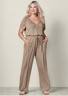 plus size drawstring waist jumpsuit