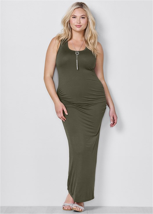 RUCHED TANK MAXI DRESS,CONFIDENCE FULL BODY SHAPER