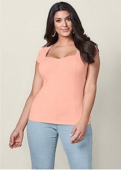 plus size cap sleeve basic top