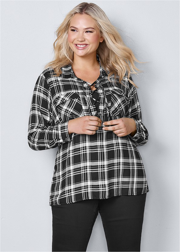 Plaid Lace Up Top,Mid Rise Color Skinny Jeans,Buckle Riding Boots