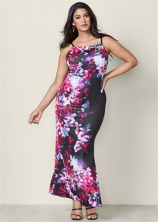 Plus Size Floral Print Long Dress Venus