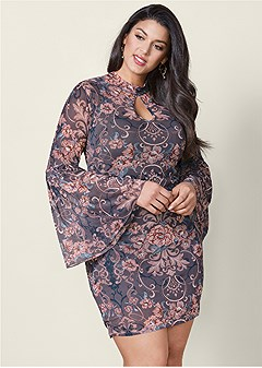 plus size bell sleeve floral dress