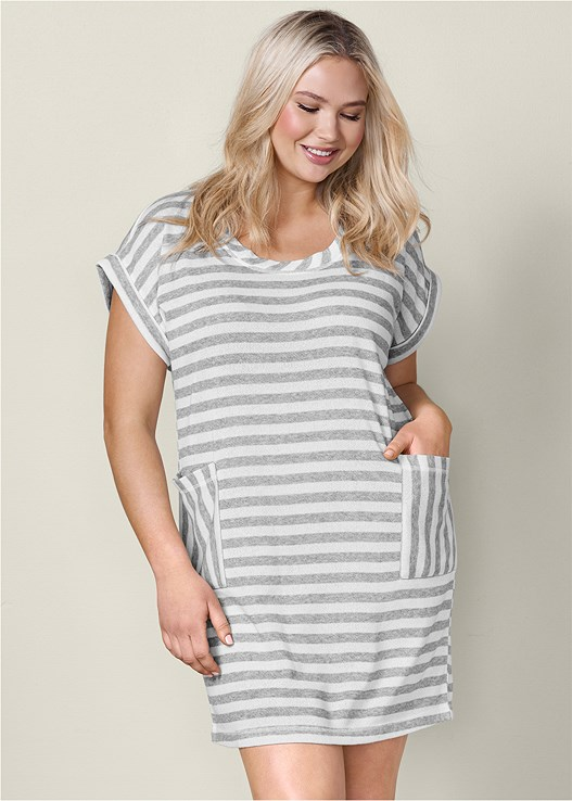 4ef84a2233 Heather Grey   White STRIPED FRENCH TERRY DRESS from VENUS