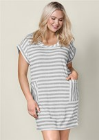 plus size striped french terry dress