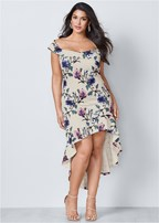 plus size off shoulder high low dress