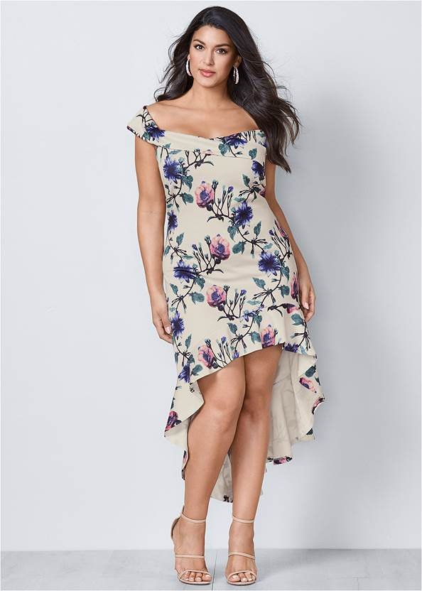 Off Shoulder High Low Dress,High Heel Strappy Sandals