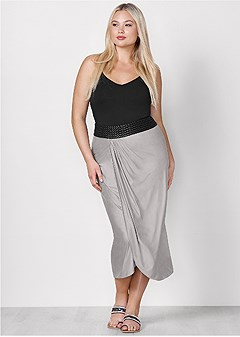 plus size waistband detail maxi skirt
