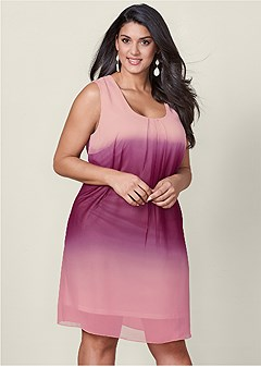 plus size ombre party dress