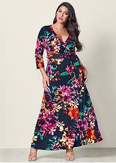 plus size floral print maxi dress
