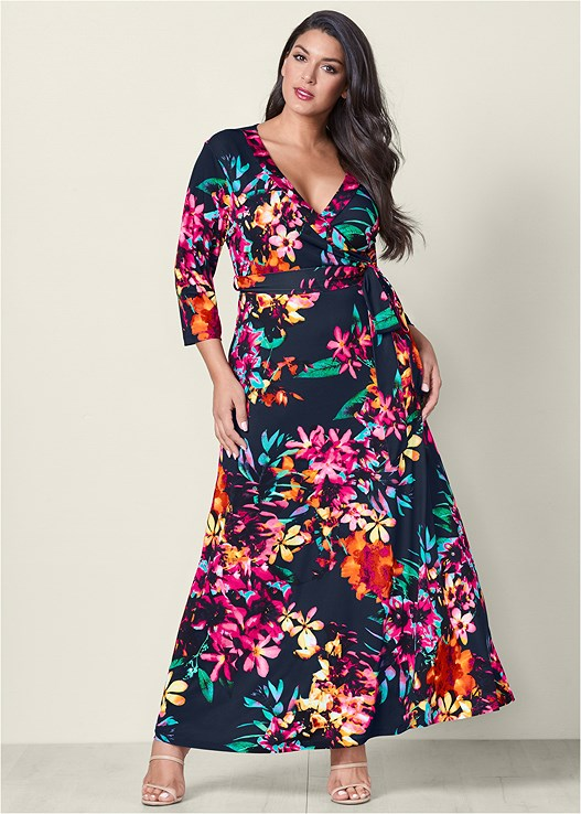 774cf3877d5 Plus Size FLORAL PRINT MAXI DRESS