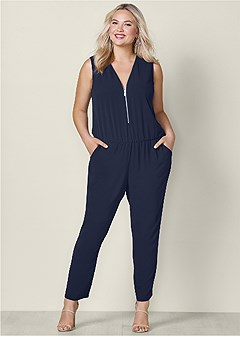 plus size zip up detail jumpsuit