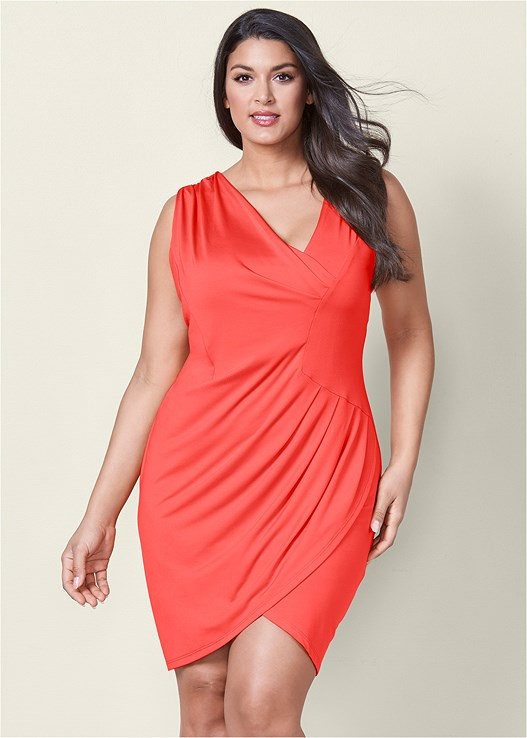 7b9df0441d7ff Coral DRAPED DETAIL DRESS from VENUS