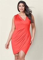plus size draped detail dress
