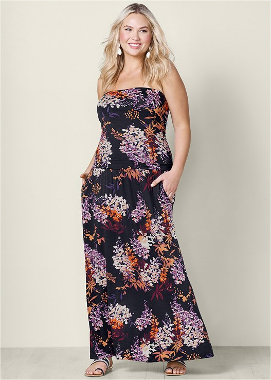 a6074612268e Black Multi STRAPLESS FLORAL MAXI DRESS from VENUS