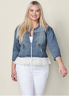 plus size embellished jean jacket
