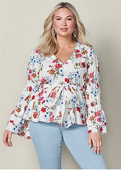 plus size floral print bow front top