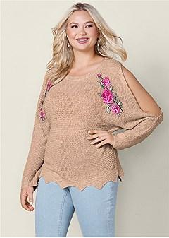 plus size applique detail sweater