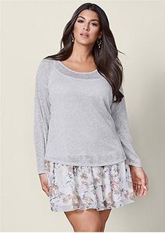 plus size layered sweater dress