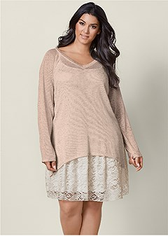 plus size layered sweater dress