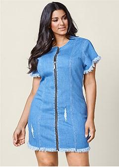 plus size zipper detail denim dress