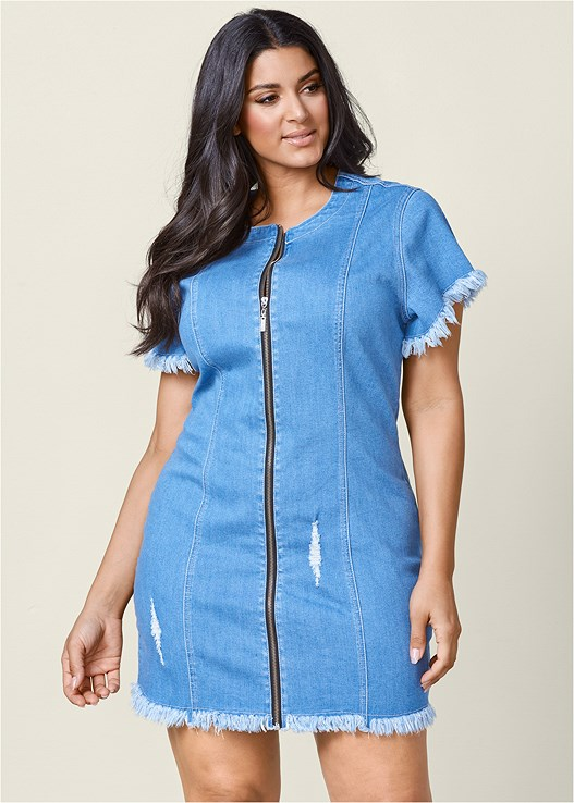 Plus Size Zipper Detail Denim Dress Venus
