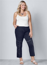 Plus Size Eyelet Detail Pants