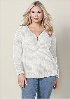 plus size v-neck zip up sweater