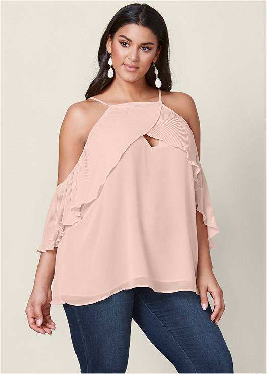 be72fff6a86b8 Plus Size PLEATED COLD SHOULDER TOP