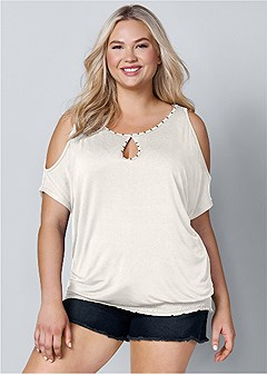 plus size neck detail top