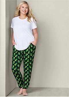 plus size printed sleep pants