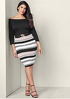 plus size belted bodycon dress