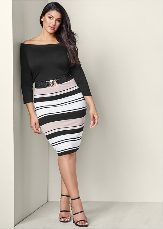 Plus Size Belted Bodycon Dress Venus