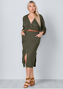 plus size belted midi shirt dress